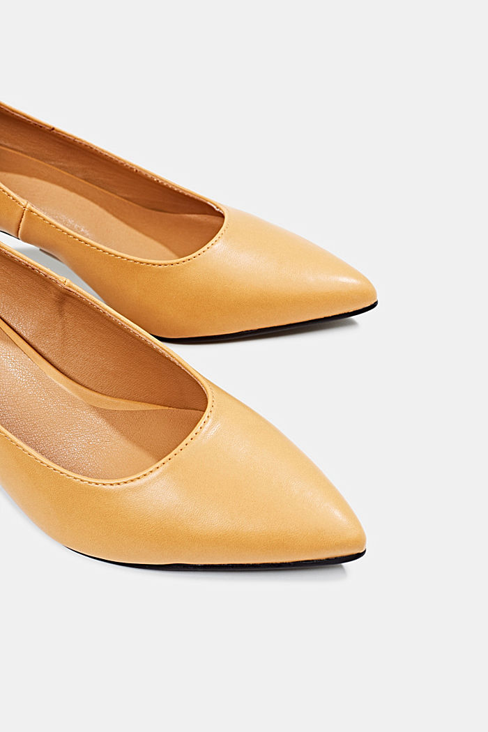 Heeled court shoes, AMBER YELLOW, detail image number 4