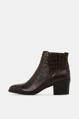 Faux reptile leather ankle boots, DARK BROWN, detail