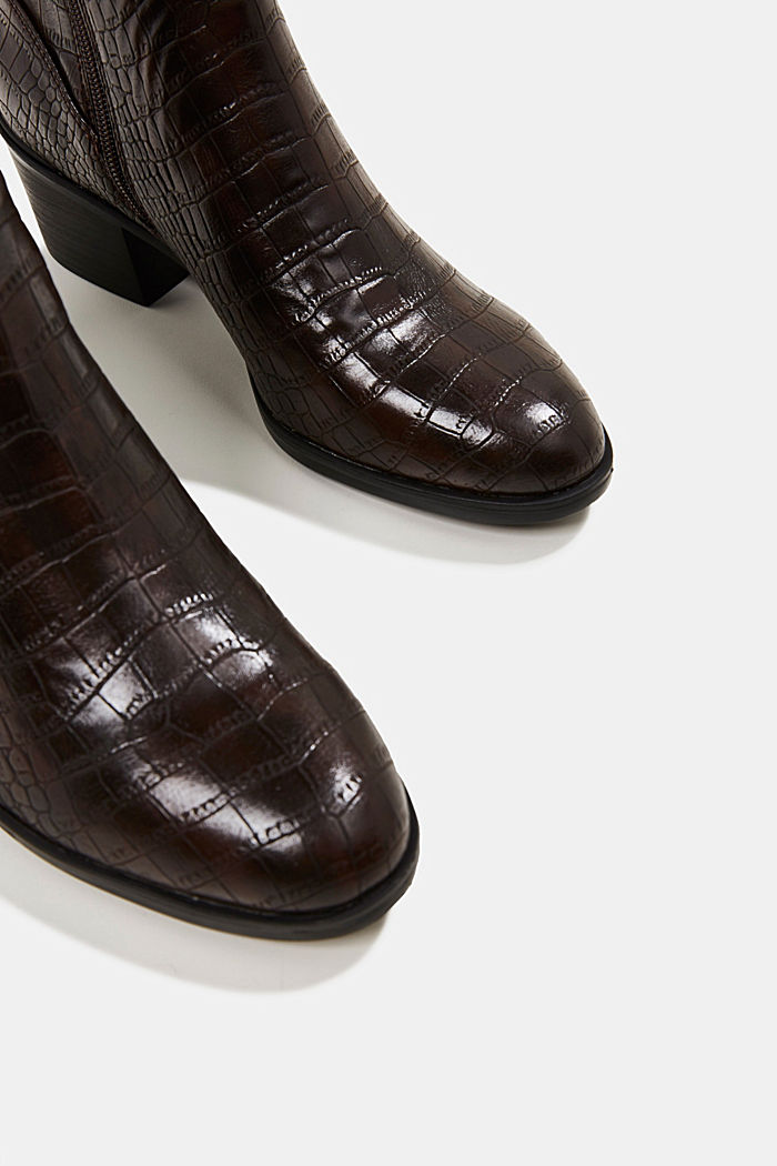Faux reptile leather ankle boots, DARK BROWN, detail image number 1