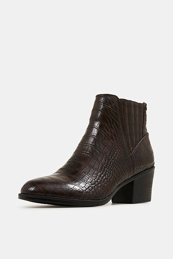 Faux reptile leather ankle boots, DARK BROWN, detail image number 2