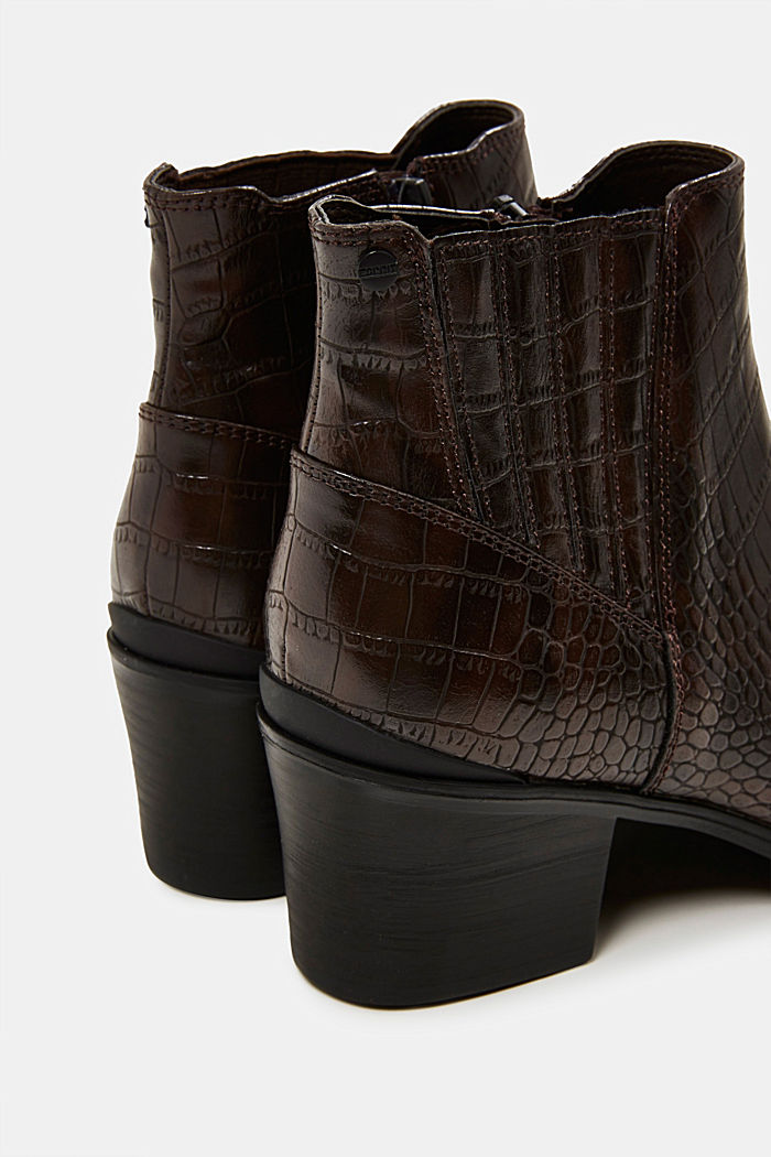 Faux reptile leather ankle boots, DARK BROWN, detail image number 5