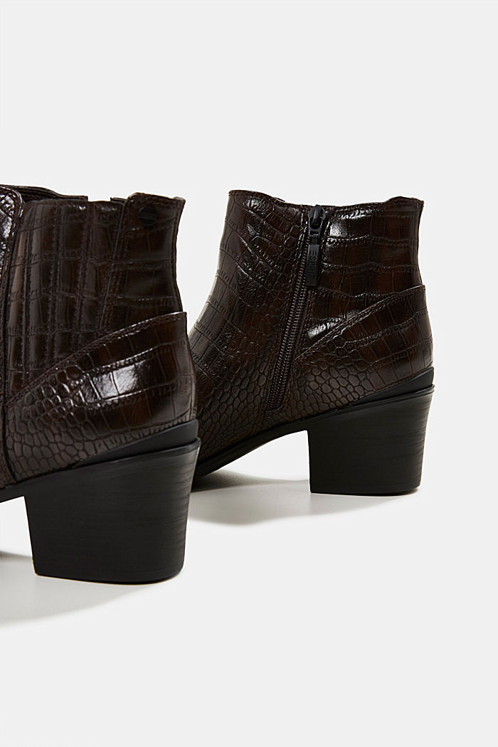 Faux reptile leather ankle boots, DARK BROWN, detail image number 4