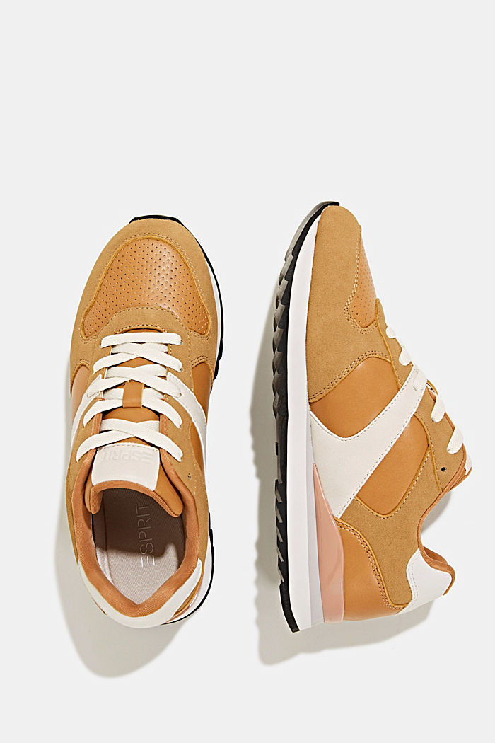 Faux leather trainers, AMBER YELLOW, detail image number 1
