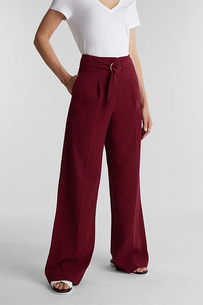 Aus LENZING™ ECOVERO™: Weite Hose, BORDEAUX RED, detail image number 0