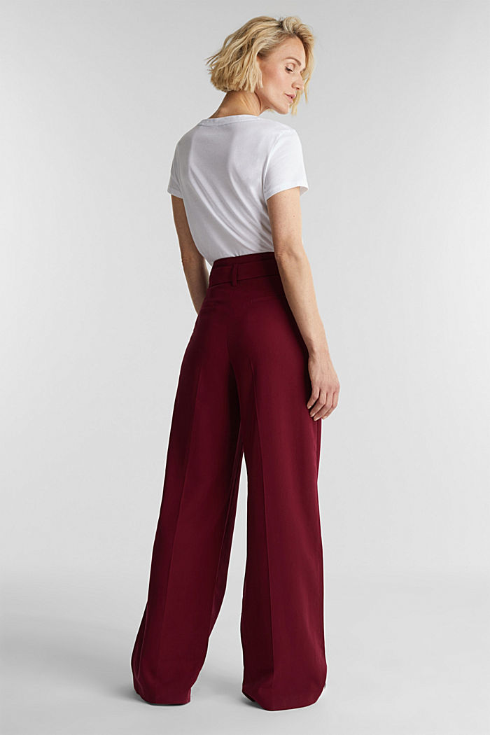 Made of LENZING™ ECOVERO™: Wide trousers, BORDEAUX RED, detail image number 3
