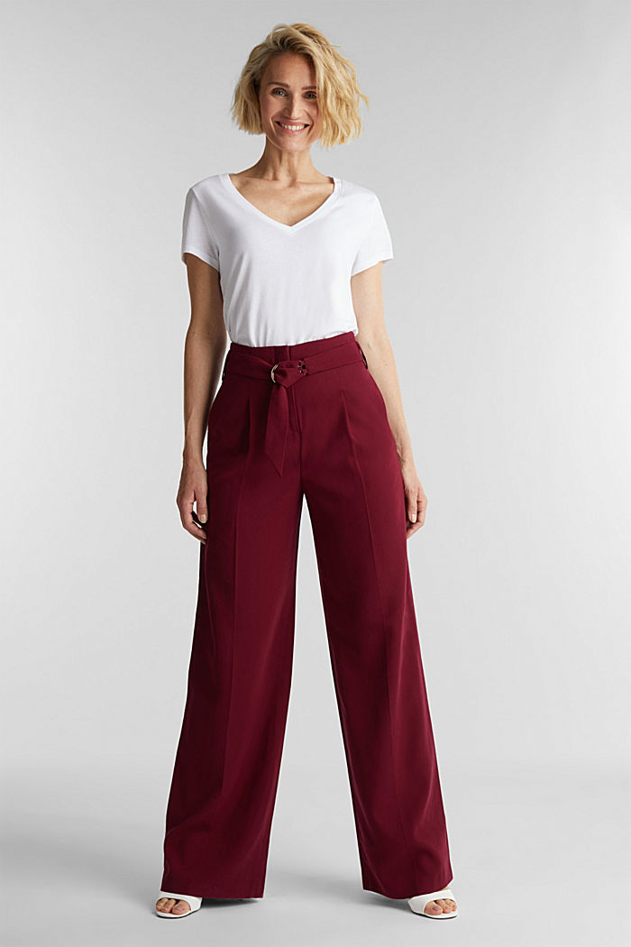 Made of LENZING™ ECOVERO™: Wide trousers, BORDEAUX RED, detail image number 1