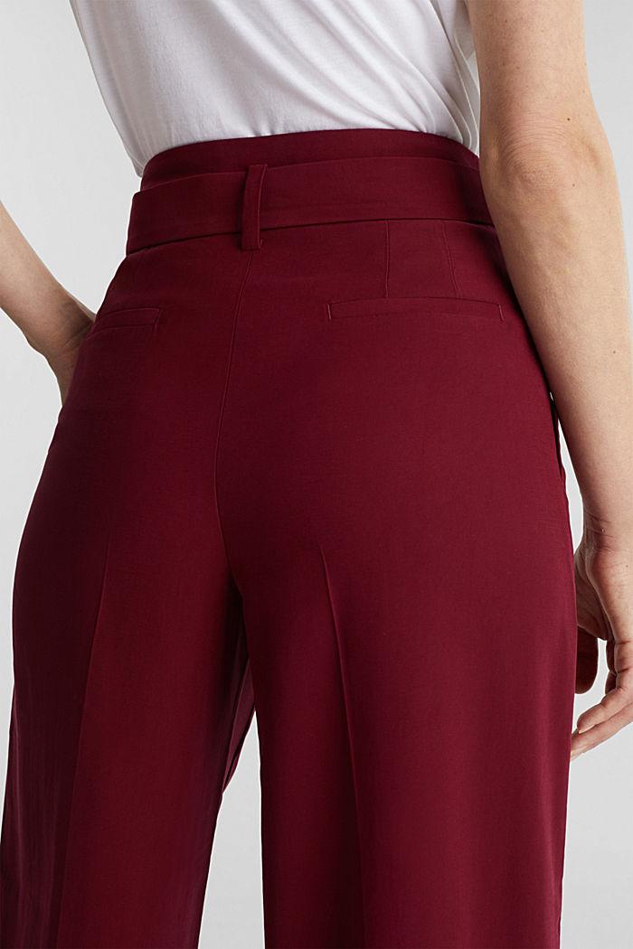 Aus LENZING™ ECOVERO™: Weite Hose, BORDEAUX RED, detail image number 5