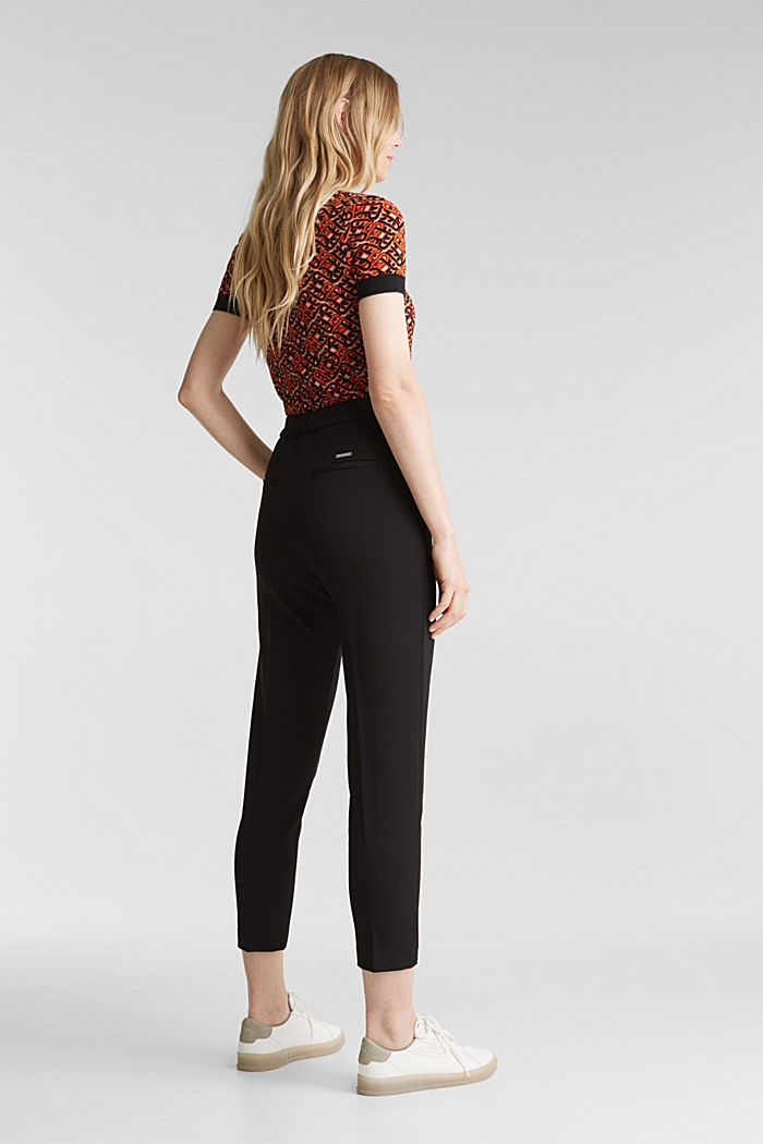 Stretch trousers with an elasticated waistband, BLACK, detail image number 3