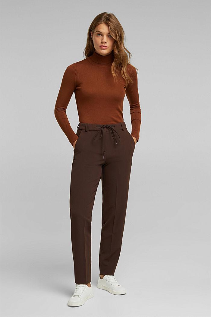 Pantalón elástico con cintura elástica, DARK BROWN, detail image number 6