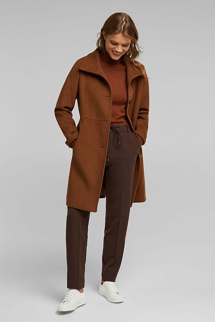 Pantalón elástico con cintura elástica, DARK BROWN, detail image number 1