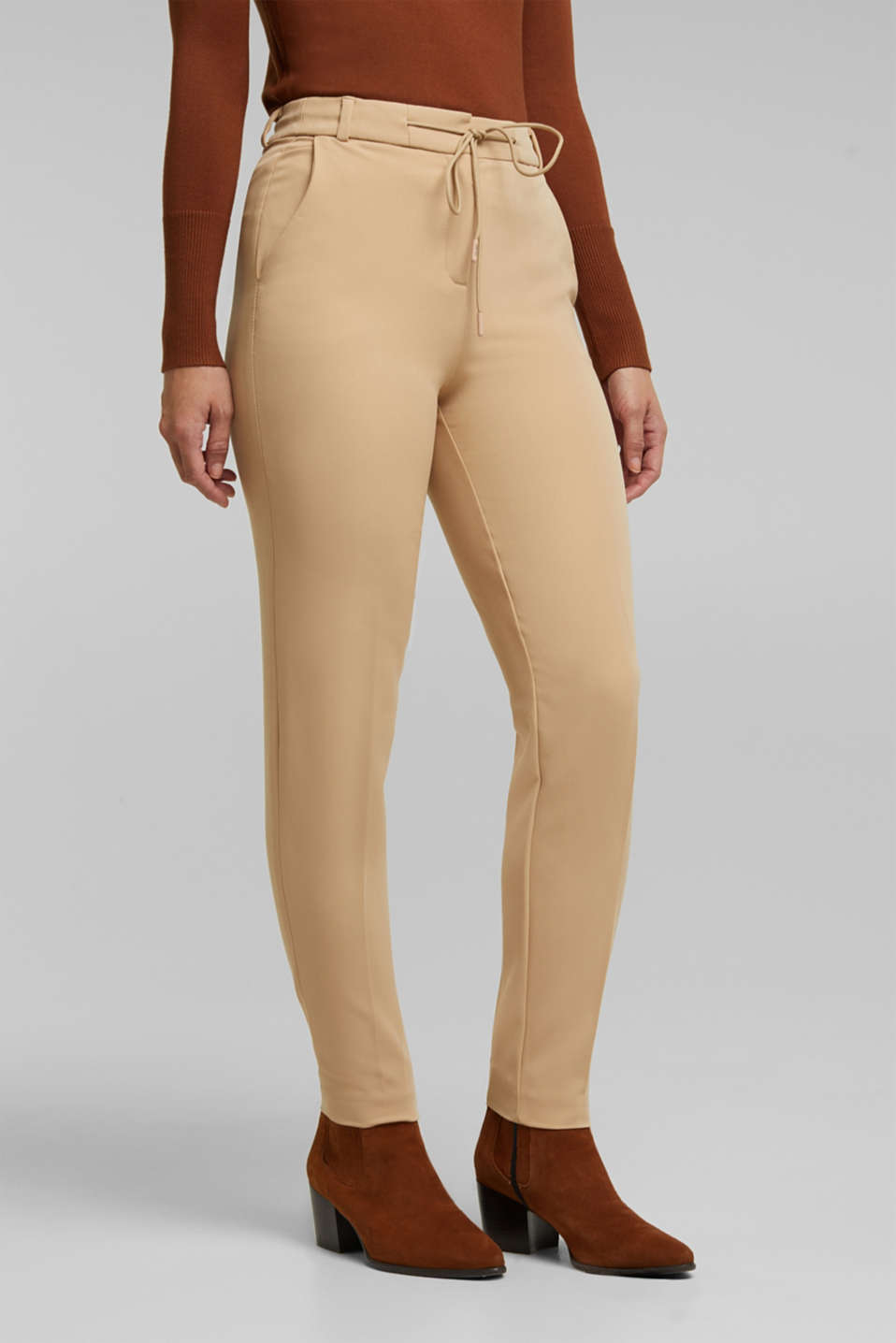 Esprit - Stretch trousers with an elasticated waistband