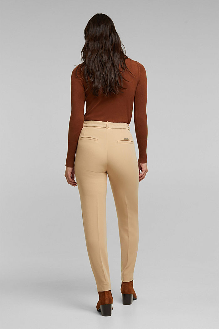 Stretch trousers with an elasticated waistband, BEIGE, detail image number 3
