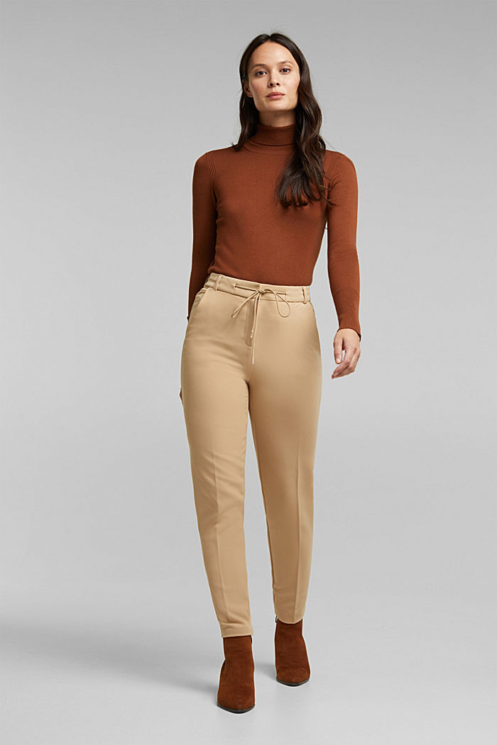 Stretch trousers with an elasticated waistband, BEIGE, detail image number 1