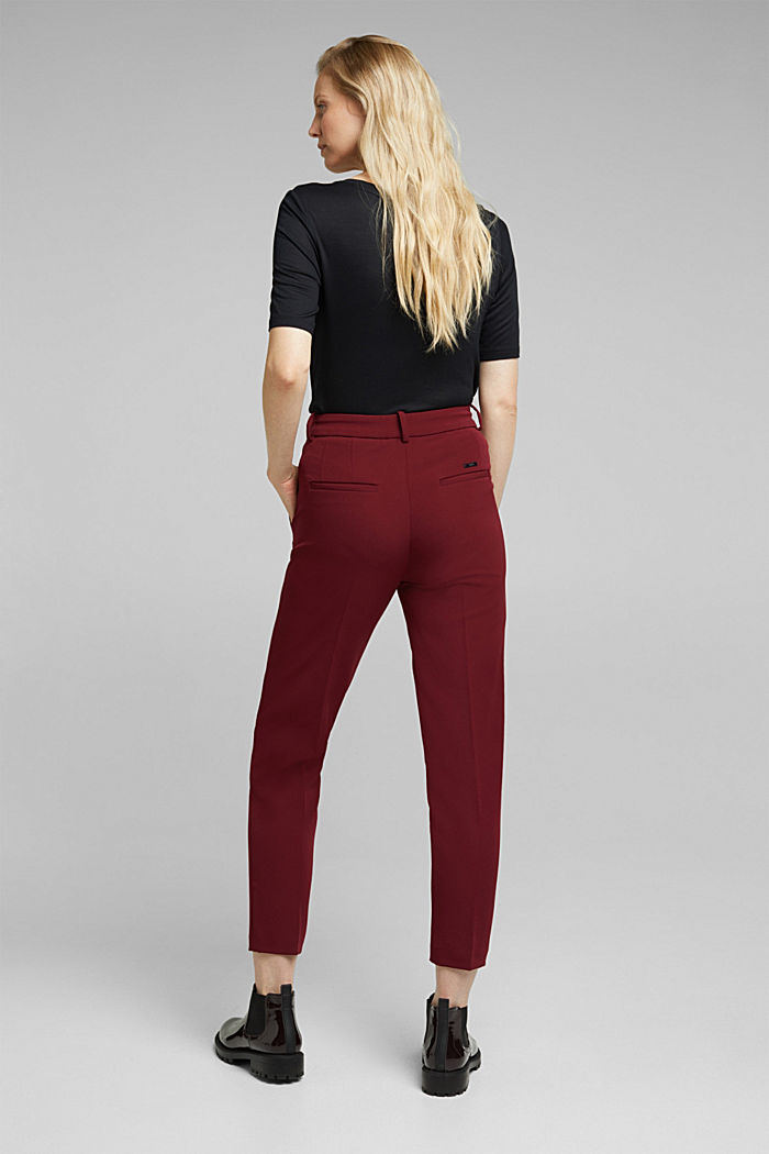 Stretch trousers with an elasticated waistband, BORDEAUX RED, detail image number 3