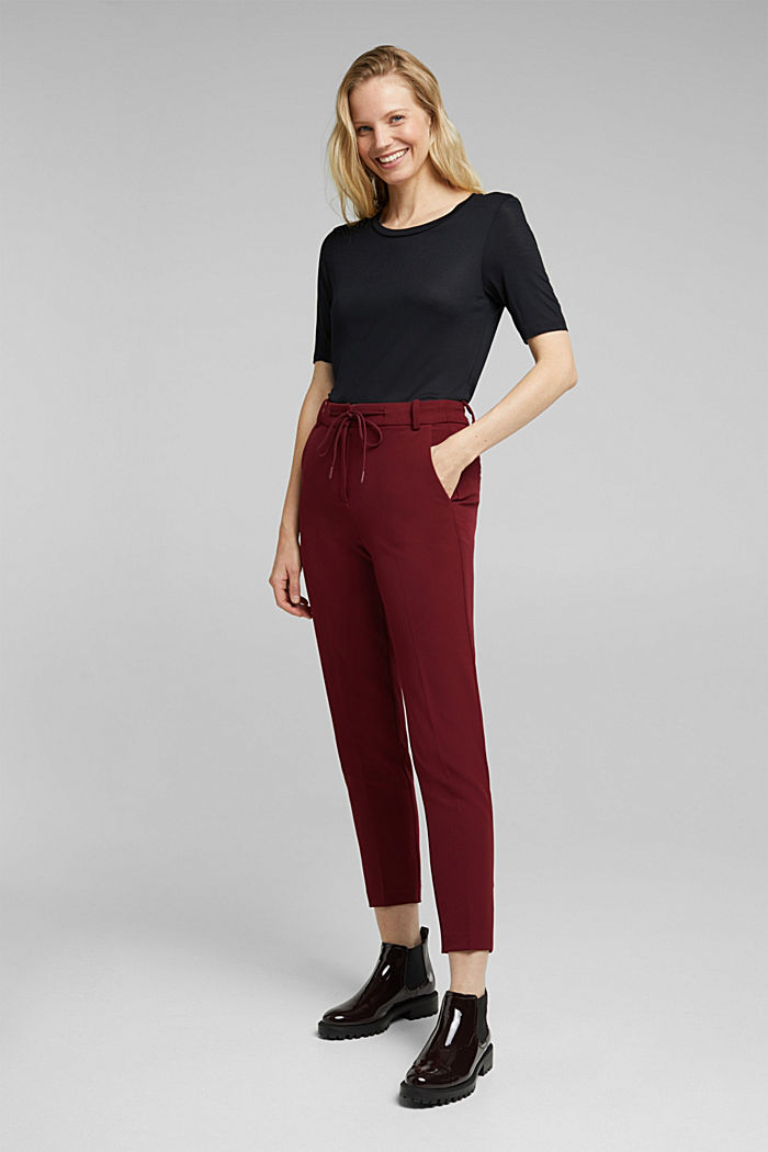 Stretch trousers with an elasticated waistband, BORDEAUX RED, detail image number 6