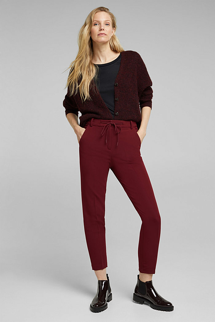 Stretch trousers with an elasticated waistband, BORDEAUX RED, detail image number 1