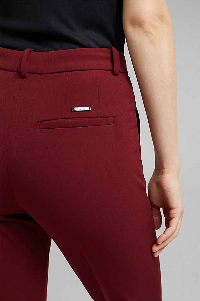 Stretch trousers with an elasticated waistband, BORDEAUX RED, detail image number 2