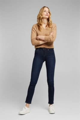 Comfy and stretchy business jeans, BLUE DARK WASH, detail