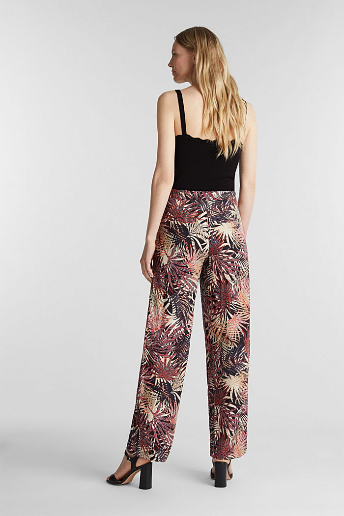 Wide-leg trousers with tropical print, BLACK, detail image number 3