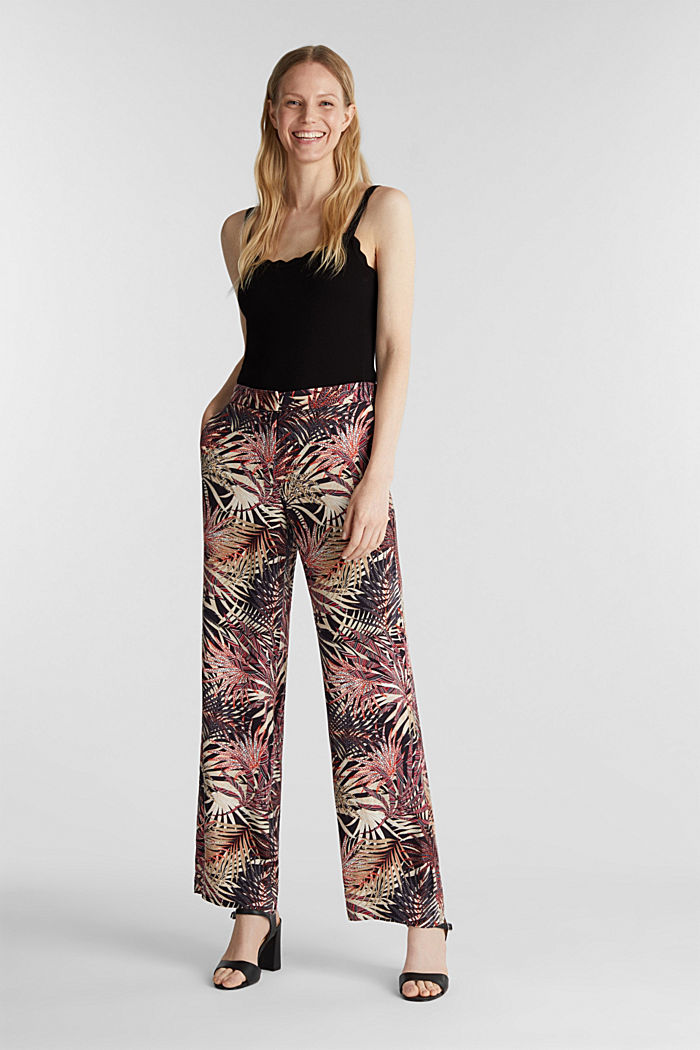 Wide-leg trousers with tropical print, BLACK, detail image number 1