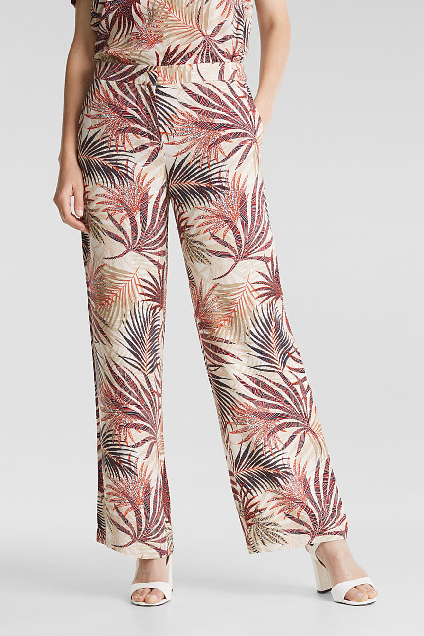 Pantalon ample à imprimé tropical
