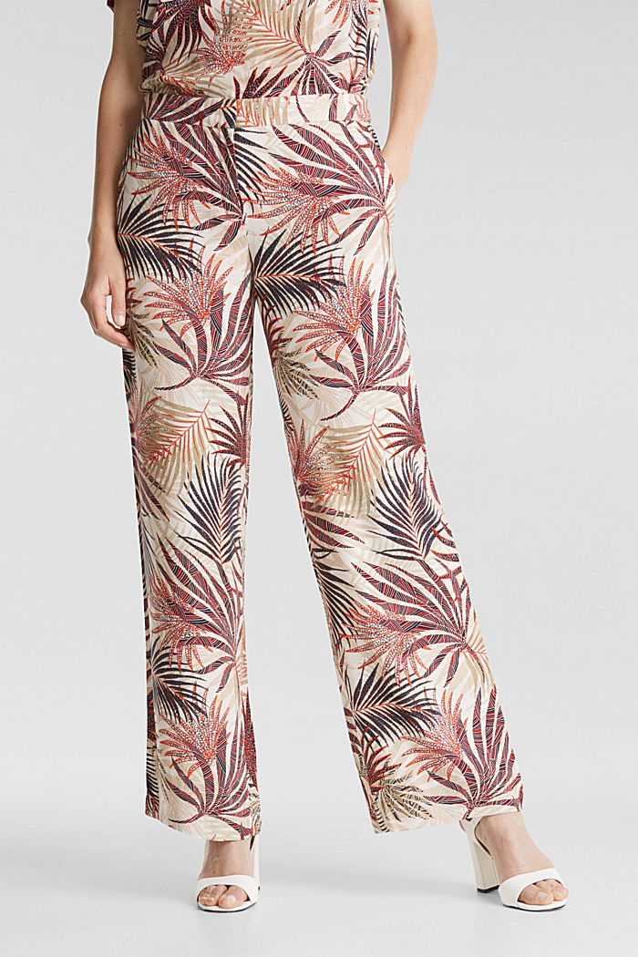 Wide-leg trousers with tropical print