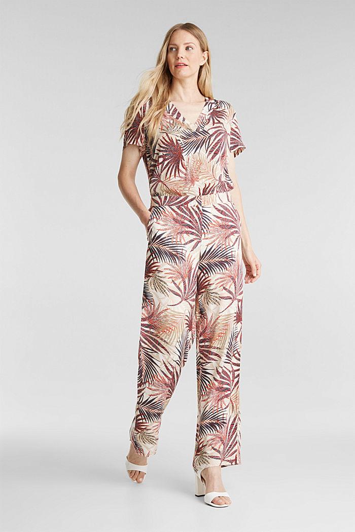 Weite Hose mit tropischem Print, BEIGE, detail image number 4