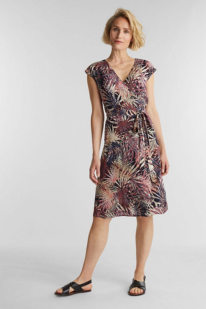 Sheath dress with a palm tree print, BLACK, detail image number 1