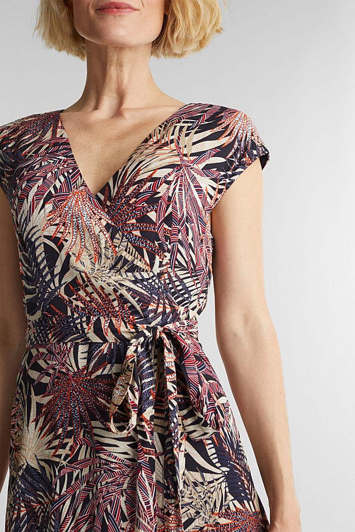 Sheath dress with a palm tree print, BLACK, detail image number 3
