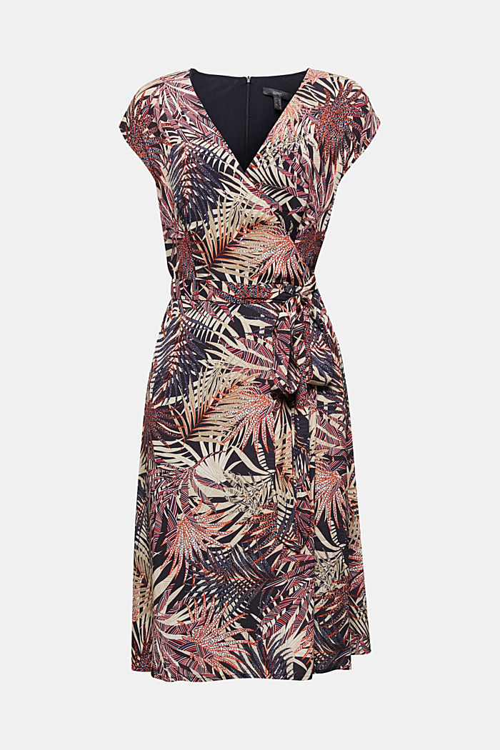 Sheath dress with a palm tree print
