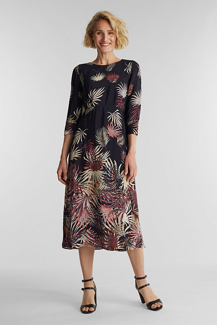 Midi dress with a palm tree print, BLACK, detail image number 0