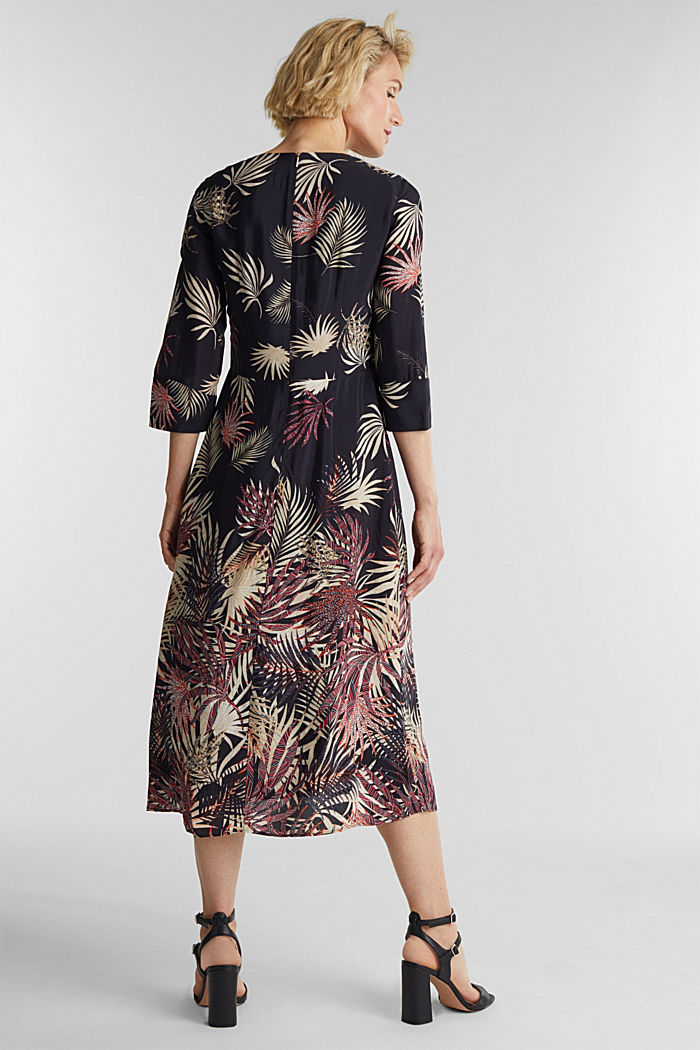 Midi dress with a palm tree print, BLACK, detail image number 2