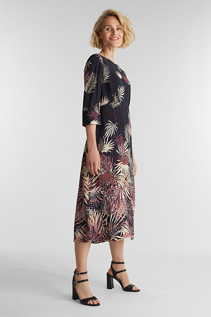 Midi dress with a palm tree print, BLACK, detail image number 1
