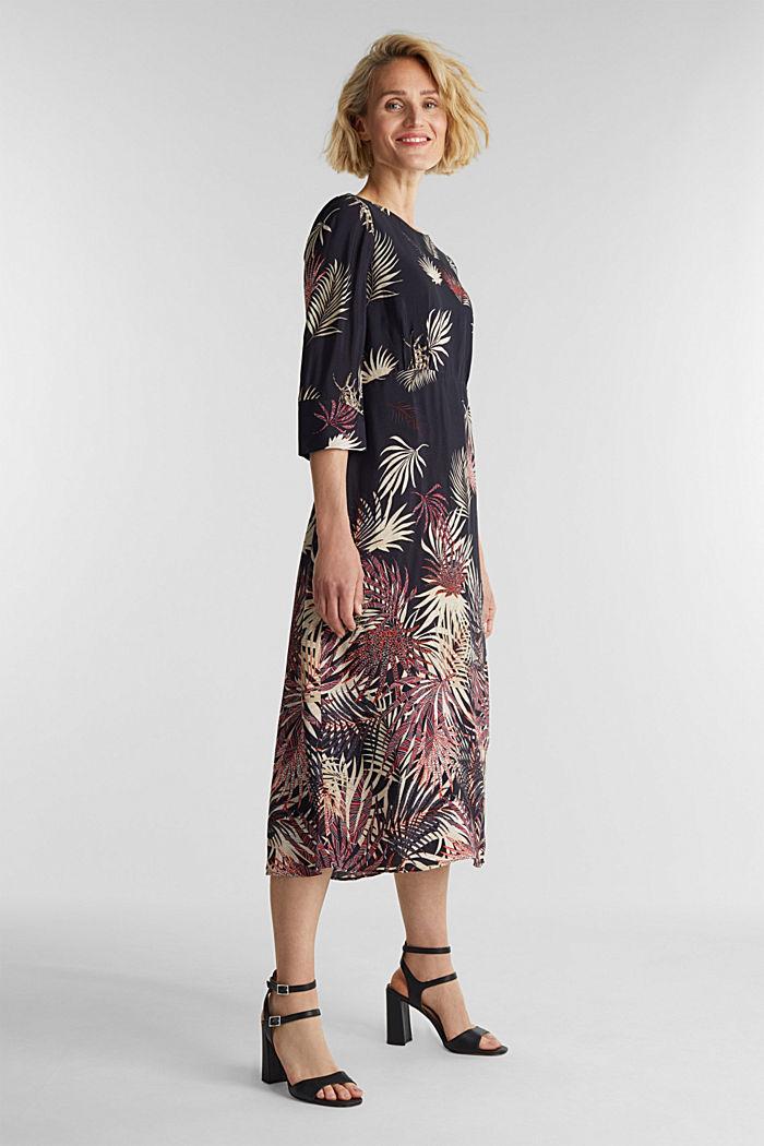 Vestido midi con estampado de palmeras, BLACK, detail image number 1