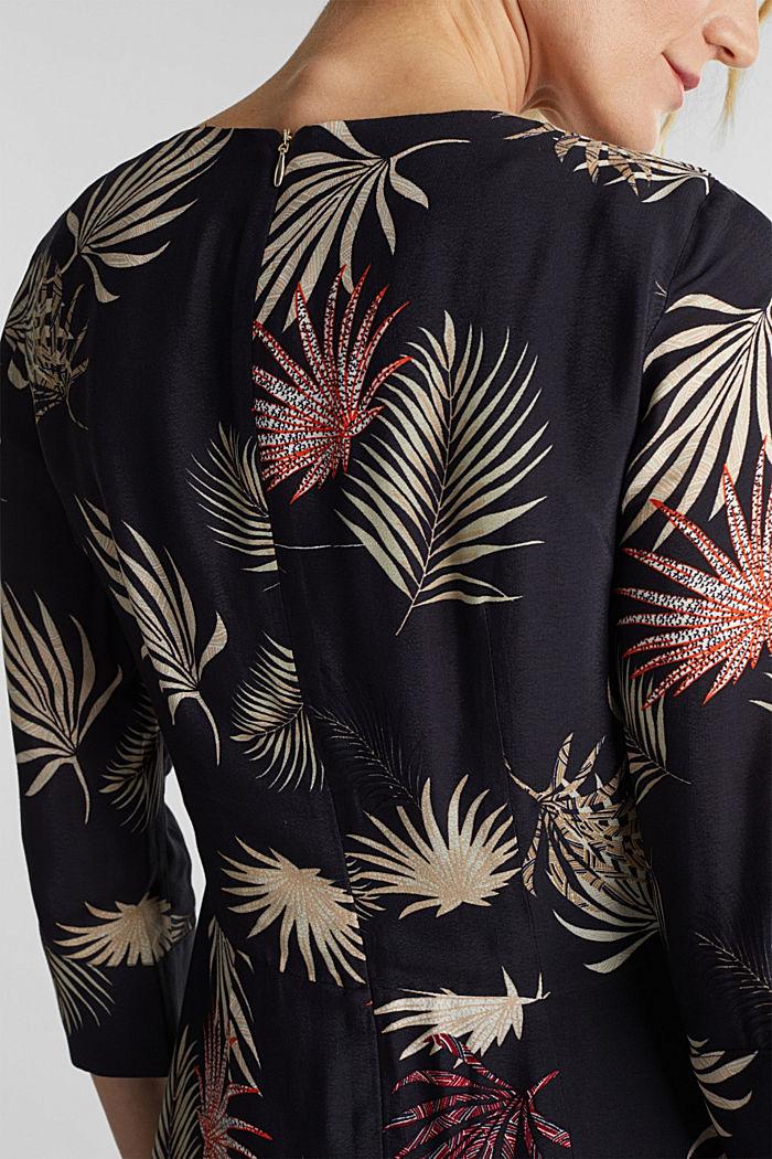 Vestido midi con estampado de palmeras, BLACK, detail image number 3