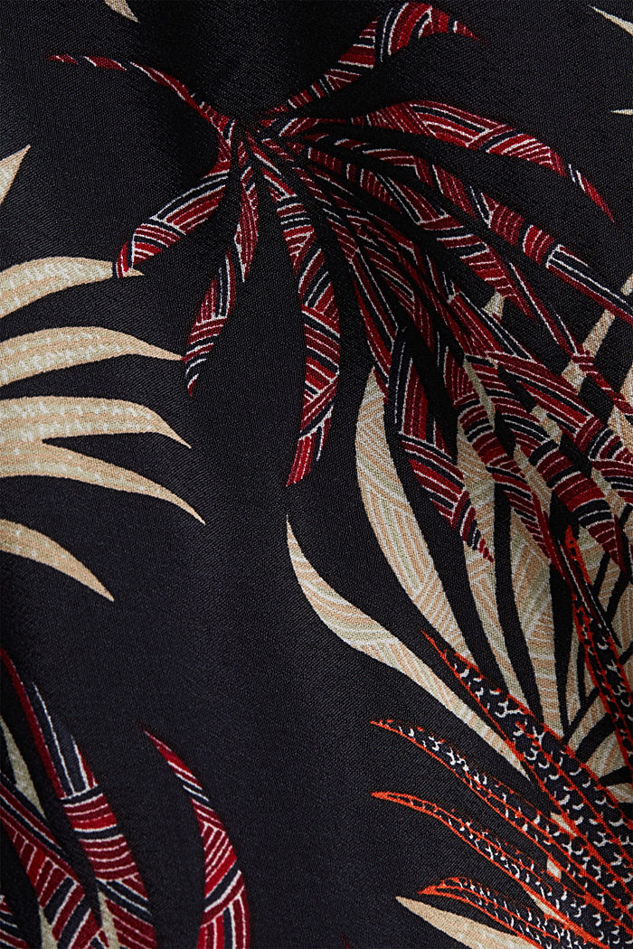Midi dress with a palm tree print, BLACK, detail image number 4