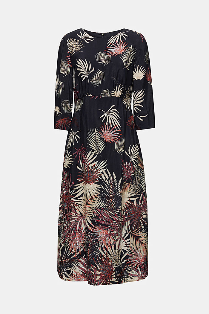 Midi dress with a palm tree print, BLACK, detail image number 5