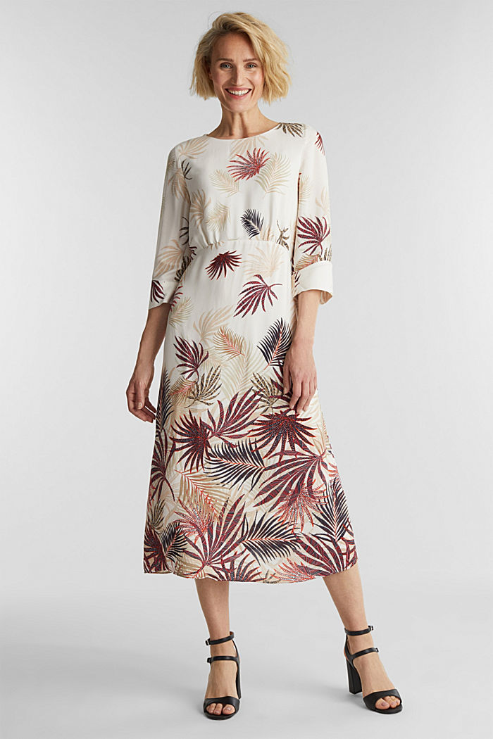 Midi dress with a palm tree print, BEIGE, detail image number 0