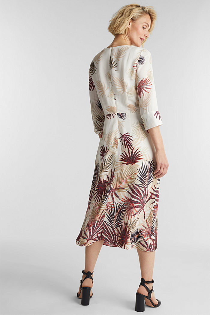 Midi dress with a palm tree print, BEIGE, detail image number 2