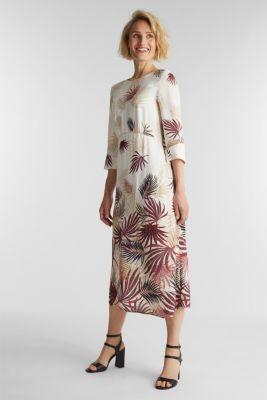 Midi dress with a palm tree print, BEIGE 4, detail