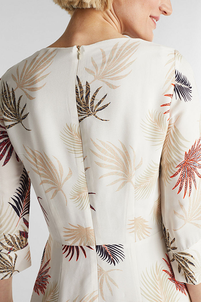 Midi dress with a palm tree print, BEIGE, detail image number 3