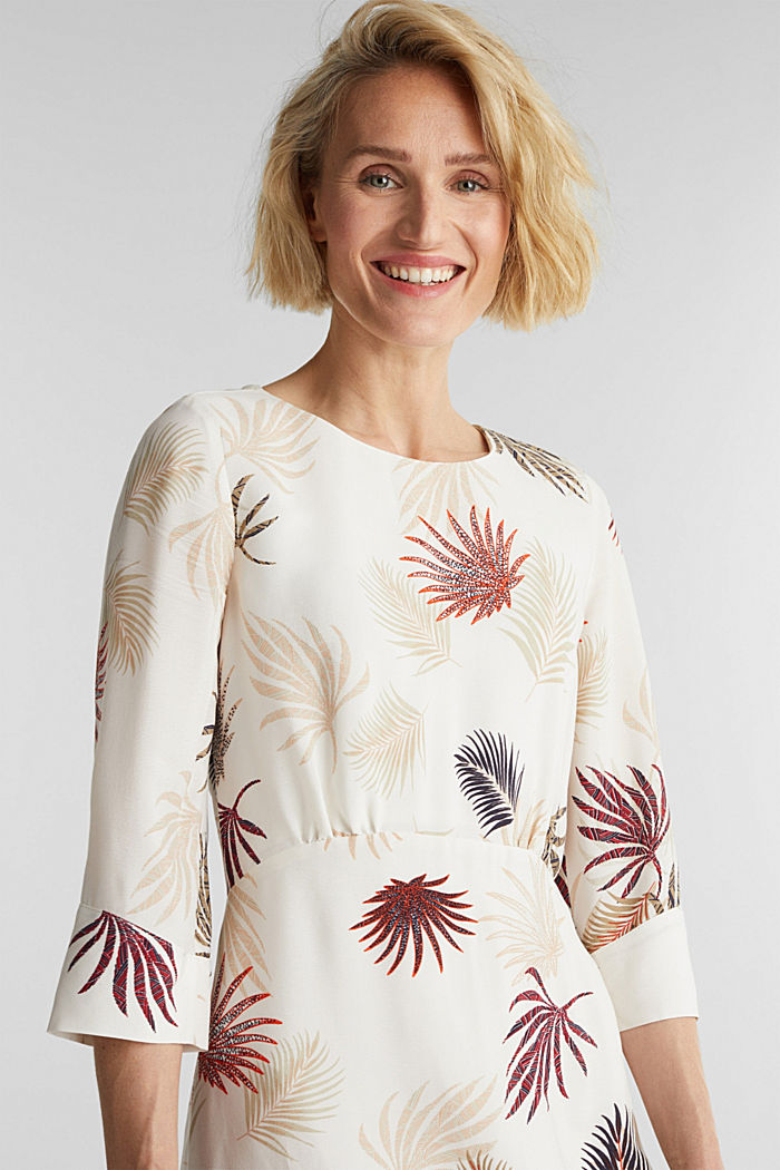 Midi dress with a palm tree print, BEIGE, detail image number 5