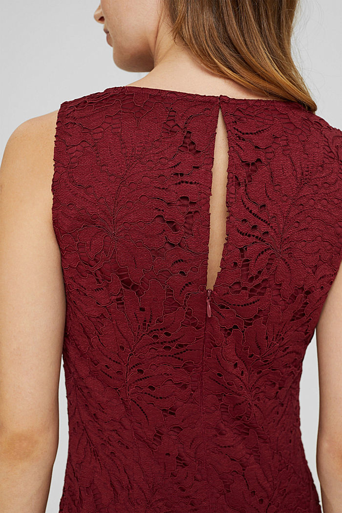 Midi-jurk van kant in de stijl van een kokerjurk, BORDEAUX RED, detail image number 3