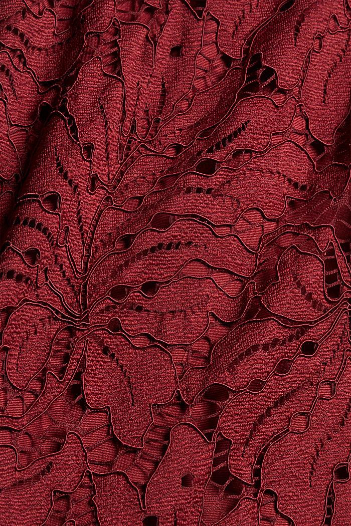 Midi-jurk van kant in de stijl van een kokerjurk, BORDEAUX RED, detail image number 4