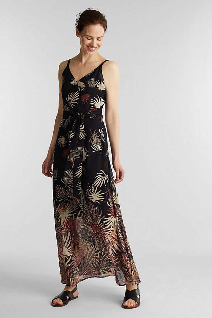 Chiffon dress with a print, recycled, BLACK, detail image number 0