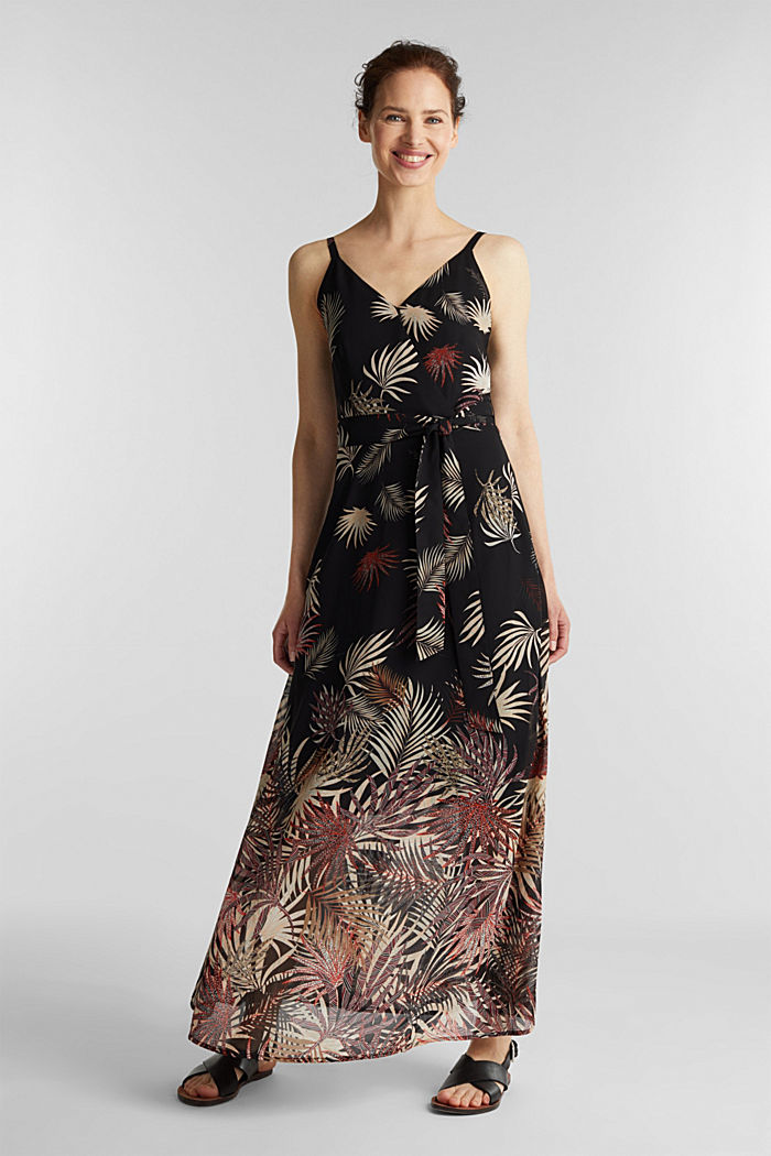 Chiffon dress with a print, recycled, BLACK, detail image number 1