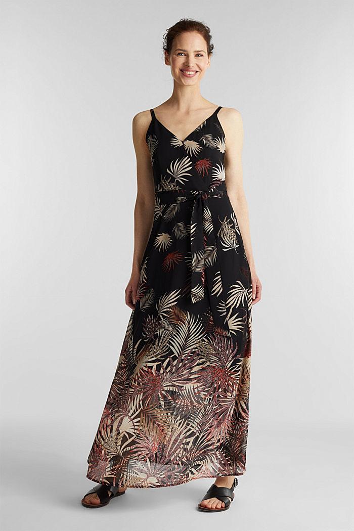 Vestido de gasa con estampado, reciclado, BLACK, detail image number 1