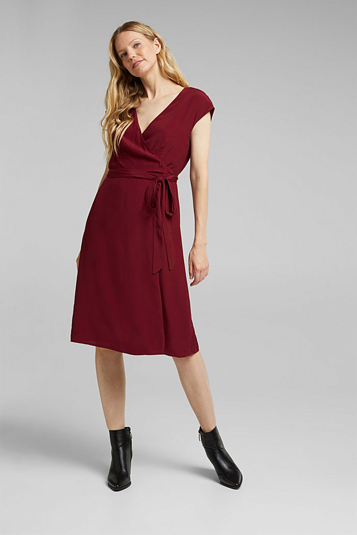Soft dress with LENZING™ ECOVERO™, BORDEAUX RED, detail image number 5
