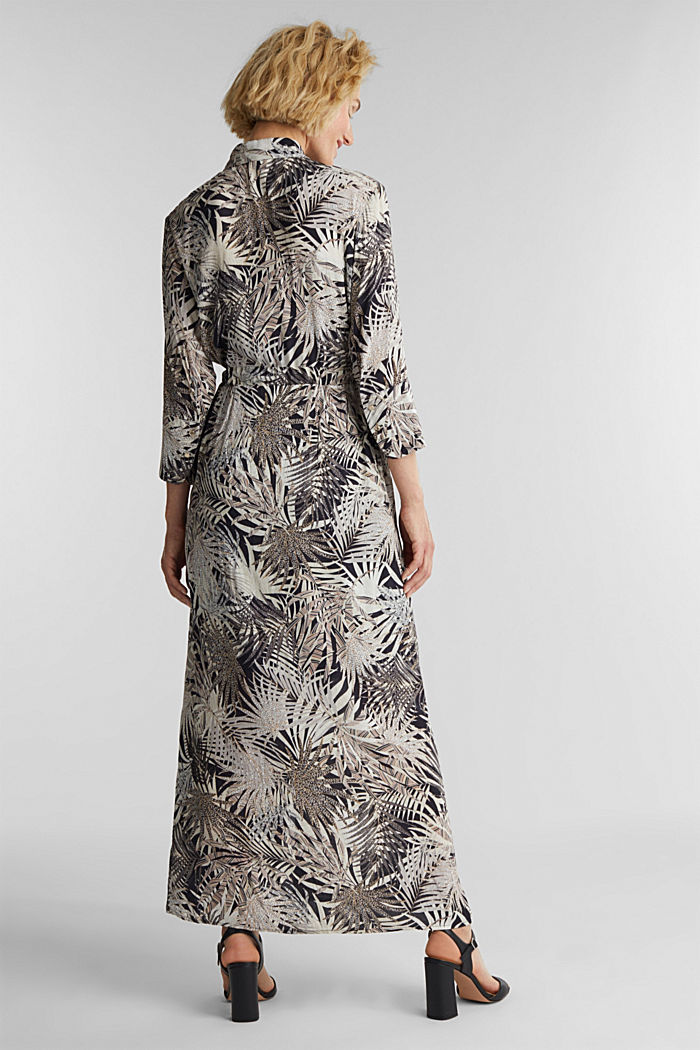 Maxi dress with a palm tree print, BLACK, detail image number 2