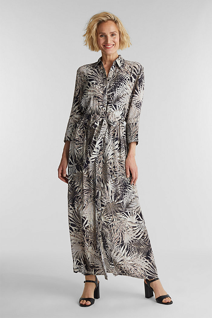 Maxi dress with a palm tree print, BLACK, detail image number 1